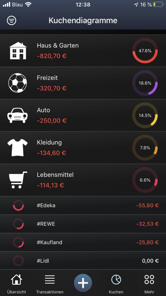 Kuchendiagramm der Ausgaben in MoneyStats