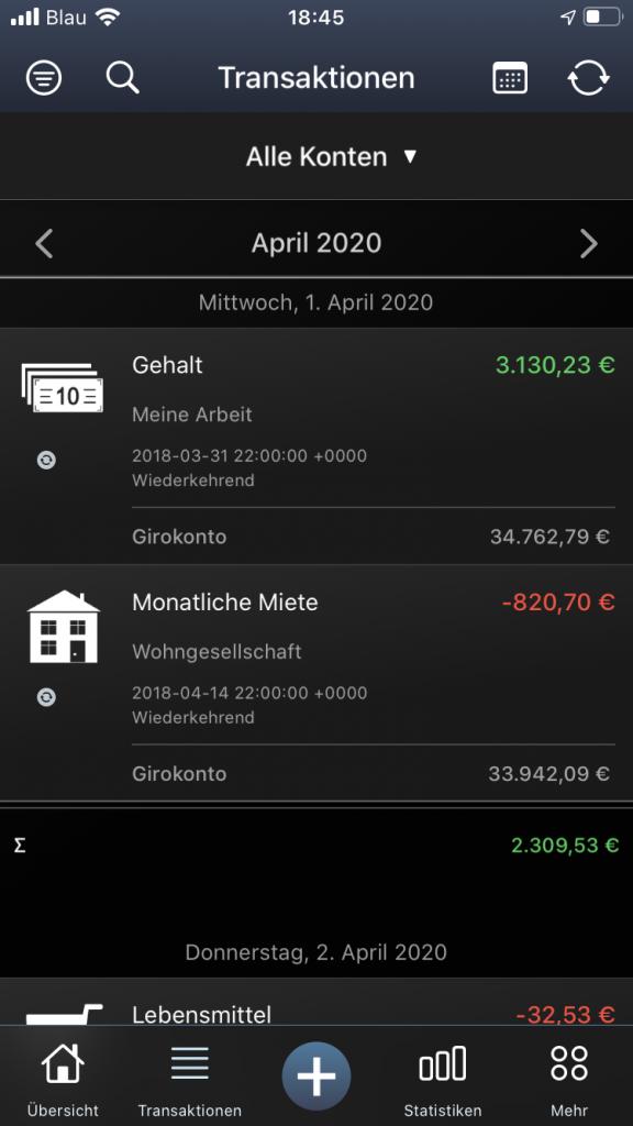 Transaktionsansicht in MoneyStats