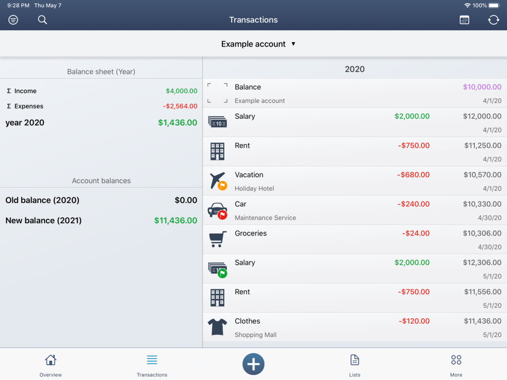 The new list view in MoneyStats
